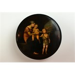 This beautiful circular stockman papier mache snuff box shows a mother and her two young children,