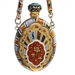 A beautiful gold & enamel scent flask, with gold and enamel chain ,and a gold finger ring. The