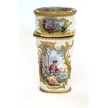 Of tapering form with gilt metal mounts   with its full contents including a pair of scissors