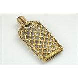A very Fine and large gold cage work bottle c 1780 . In the original shagreen case the bottle is