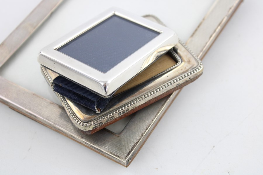 Vintage hallmarked silver photograph frames Inc miniature items are in vintage condition signs of - Image 5 of 5