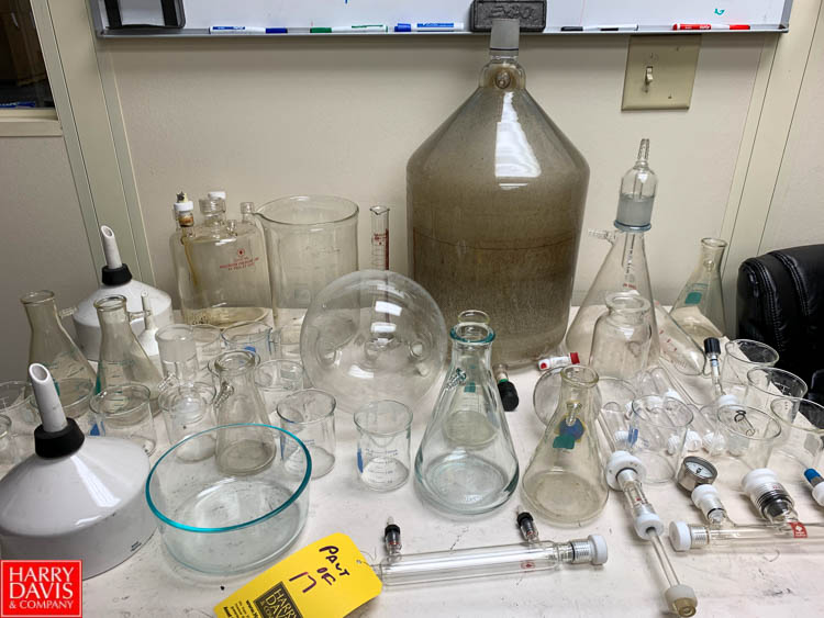 Assorted Lab Glassware with Flasks, Beakers, Graduated Columns and More Rigging Fee: 200