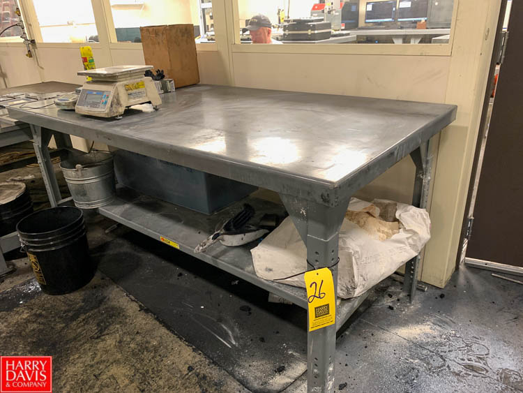 "Little Giant 36"" x 72"" Steel Work Table with Under Shelf Rigging Fee: 50"