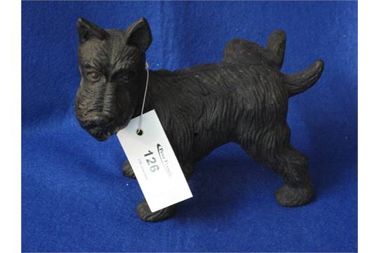 Cast Metal Scottie Dog Cocking His Leg Door Stop