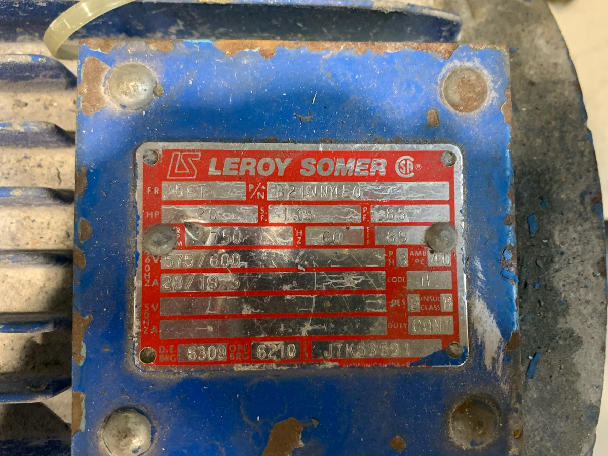 LEROY 20 HP MOTOR, 575/600 VOLTS - Image 2 of 2