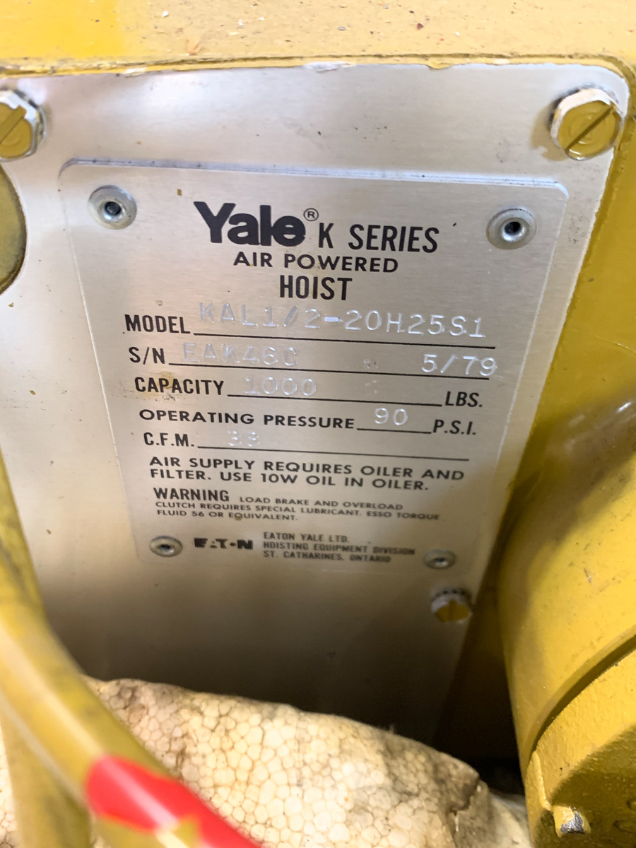 YALE 1000 LBS CAP. AIR HOIST MOD. KAL1/2-20H25S1 - Image 3 of 3
