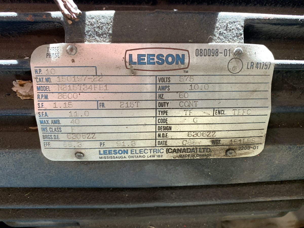 LEESON 10 HP MOTOR, 575 VOLTS - Image 2 of 2