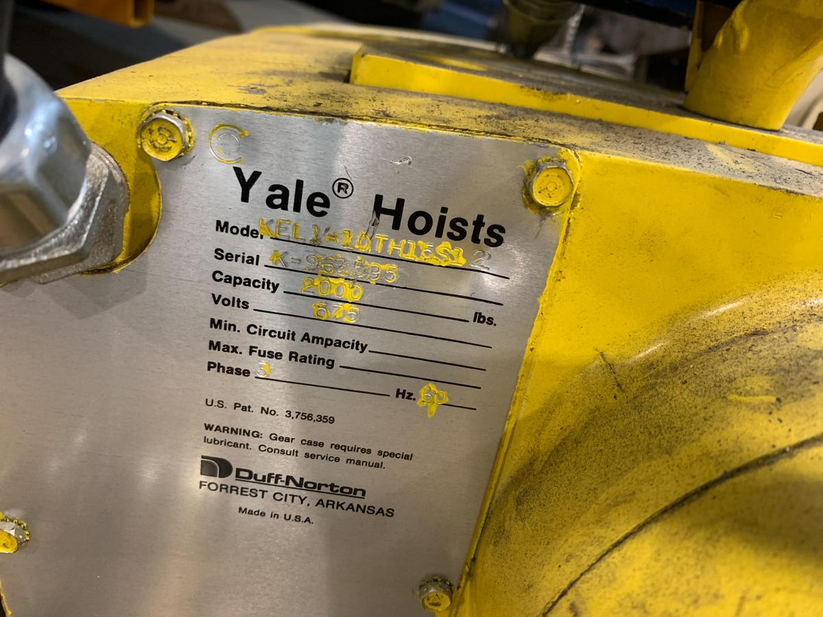 YALE ELECTRIC HOIST, 2000 LBS CAP, 575 VOLTS - Image 2 of 3