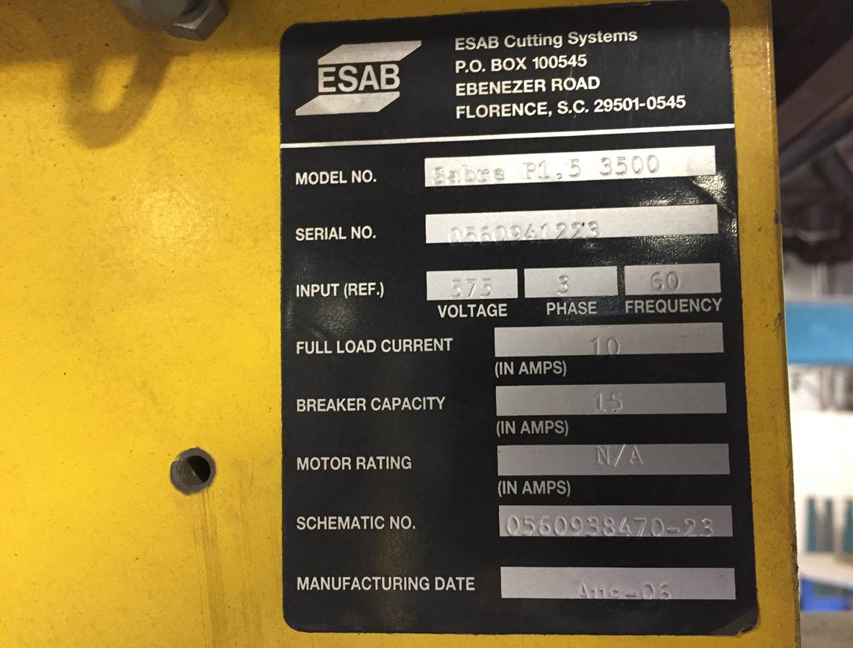(2006) ESAB CNC PLASMA BURNING TABLE MOD. SABRE P1.5 3600, WITH ESAB PLASMA UNIT, LESS THAN 60,000 - Image 4 of 5