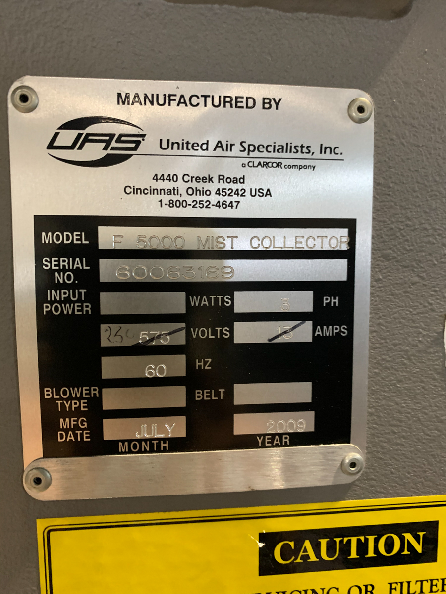 UAS (UNITED AIR SPECIALISTS) MIST COLLECTOR MOD. F5000, S/N: 60063169, 230V (2009) - Image 3 of 4