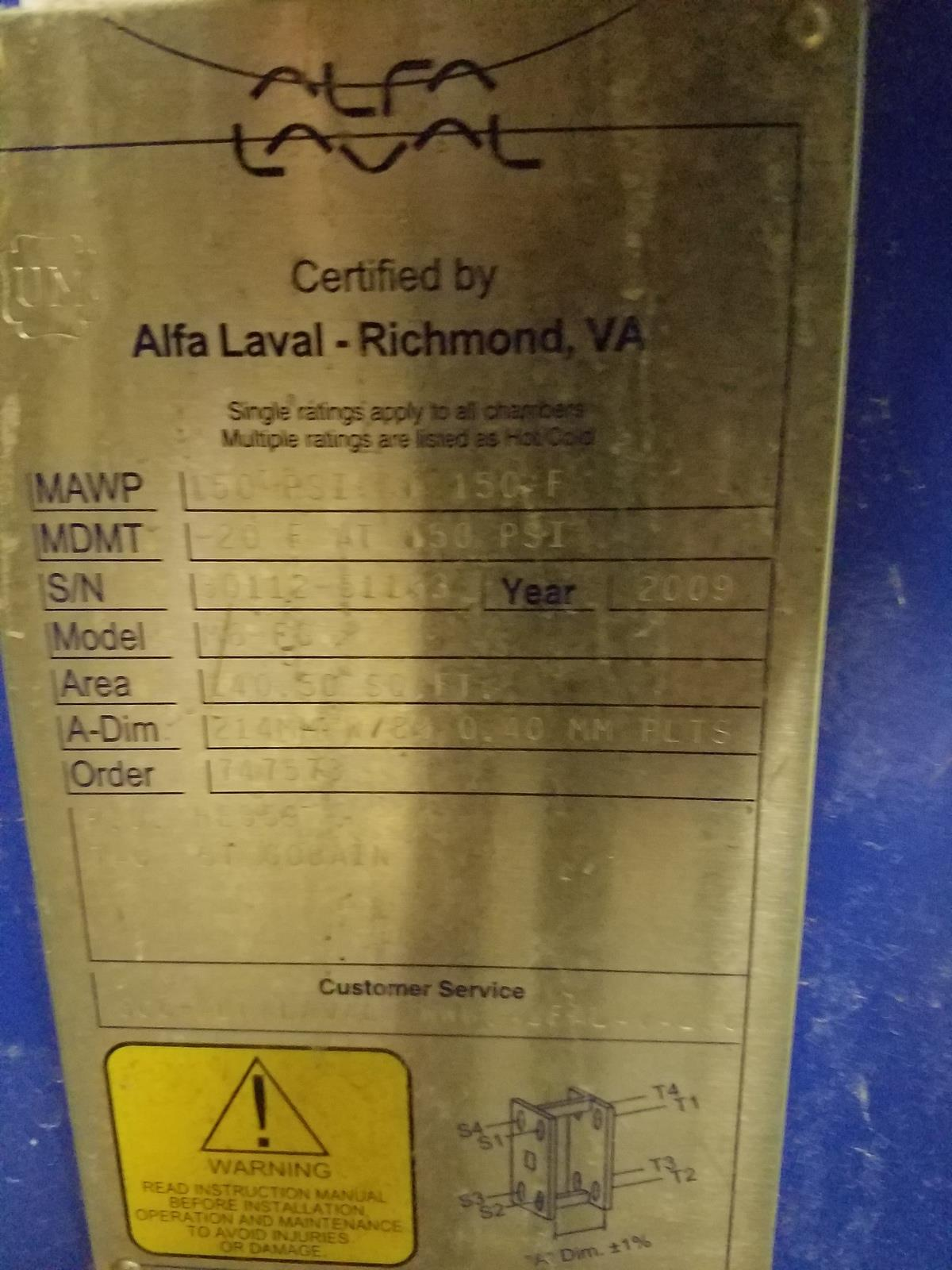 Alfa Laval Heat Exchanger | Rig Fee: Hand Carry or Contact Rigger - Image 2 of 2