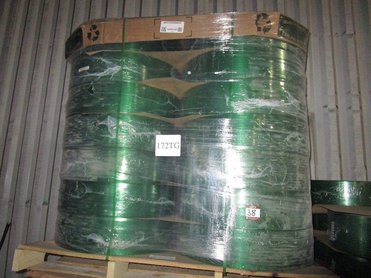 Skid of Plastic Strapping Model MPC172TG9000PL, 28 Rolls | Rig Fee: $50