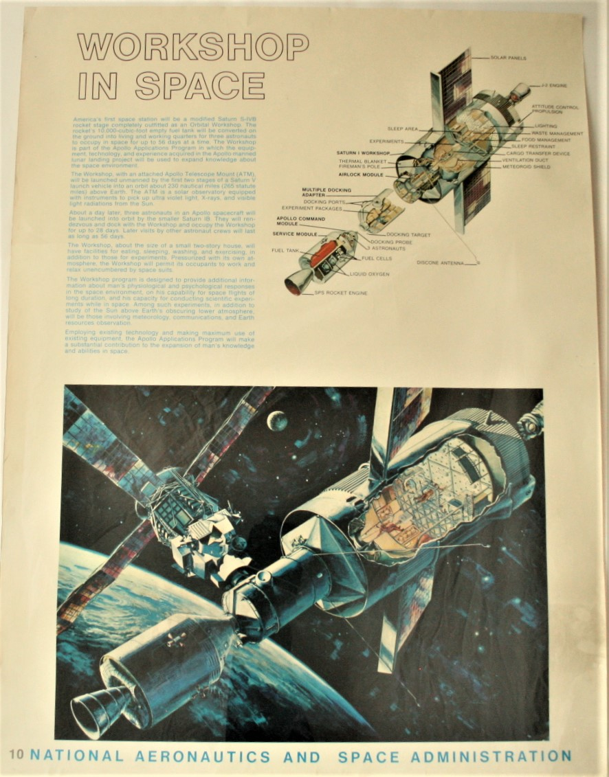 "Lot 9 - Affiche # 10 de la NASA de l'époque d'APOLLO XI ""WORKSHOP IN SPACE"", ca 1969, bon [...]"