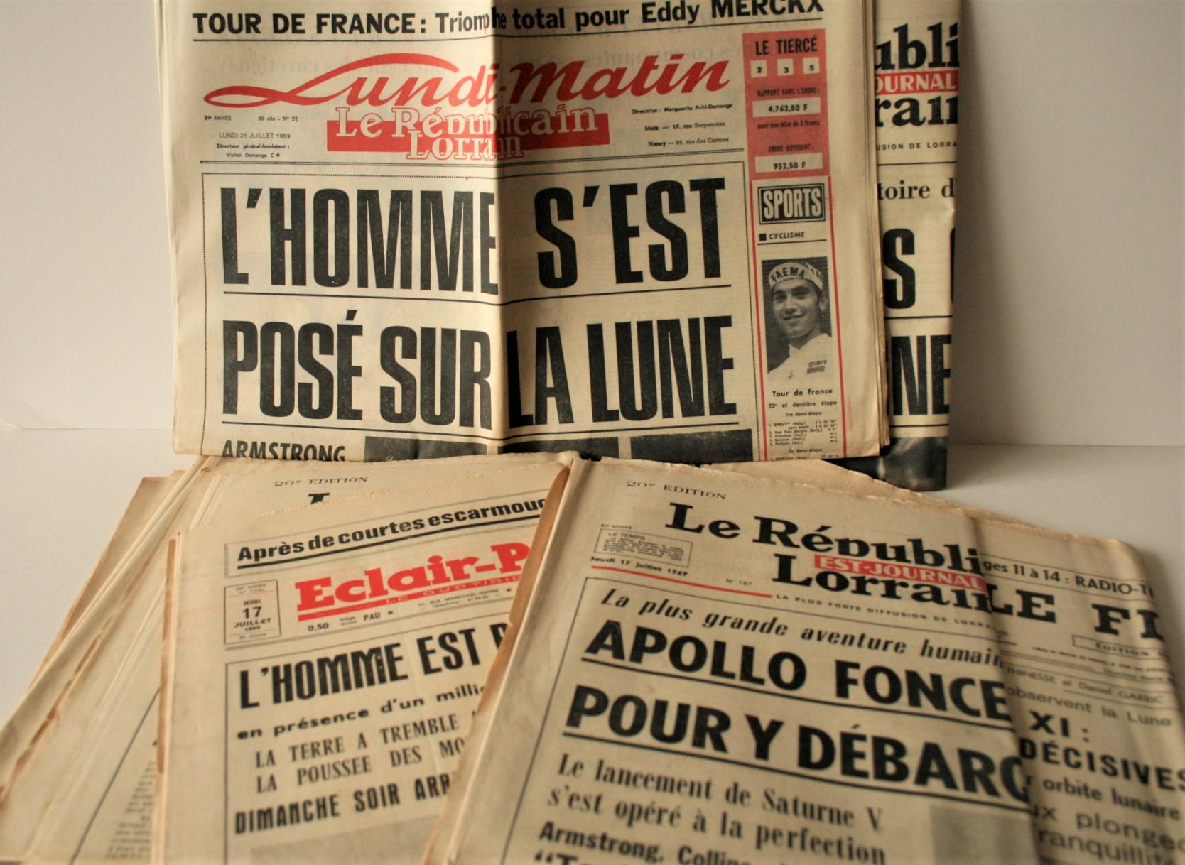 Lot 2 - Ensemble de 10 journaux français parus durant la mission APOLLO XI en juillet 1969 - [...]