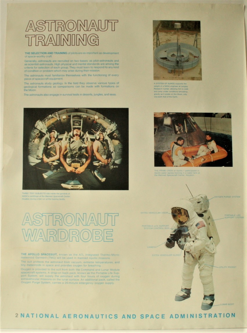 "Lot 6 - Affiche # 2 de la NASA de l'époque d'APOLLO XI ""ASTRONAUT TRAINING"", ca 1969, très [...]"