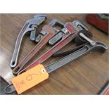 Lot - (4) Pipe Wrenches; (1) 8 in., (1) 18 in., (2) 14 in.