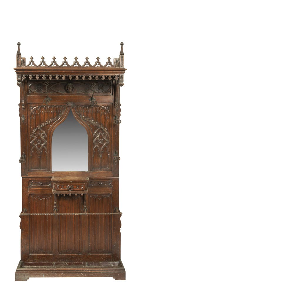 Gothic Style Entrance Furniture Oak Late 19th Century Mueble  # Muebles Lado Cee