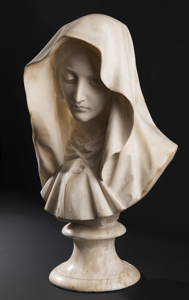 UNKNOWN ITALIAN MASTER: YOUNG LADY WITH A VEIL Around 1850; Italy 61 cm An alabaster bust of a young - Image 4 of 5