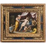 HANS ROTTENHAMMER (1564-1625): VENUS AND MARS Around 1600 28,5x36,5 cm Oil on copper plate.