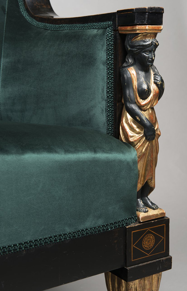 A SET OF EMPIRE FURNITURE 1815; Austria, Vienna Pear, blackened, polished, polychrome and gilded - Image 4 of 6