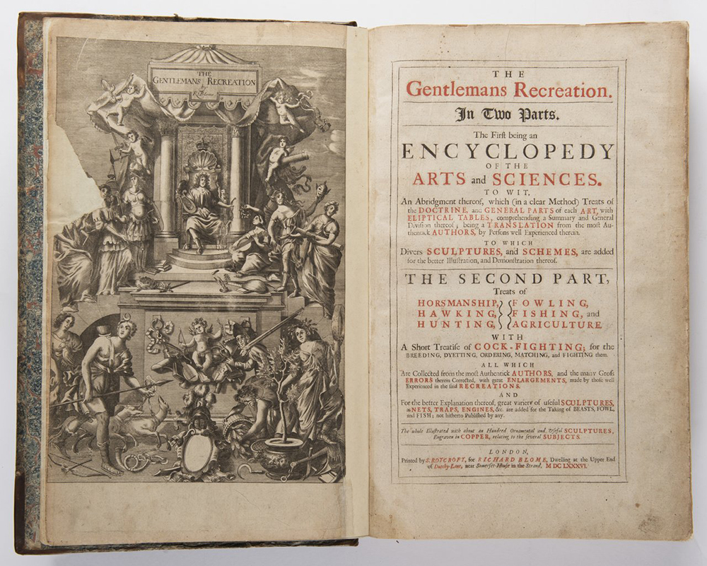 RICHARD BLOME (1635-1705): THE GENTLEMAN'S RECREATION 1686; London, Roycroft 42x28x6 cm Two books in