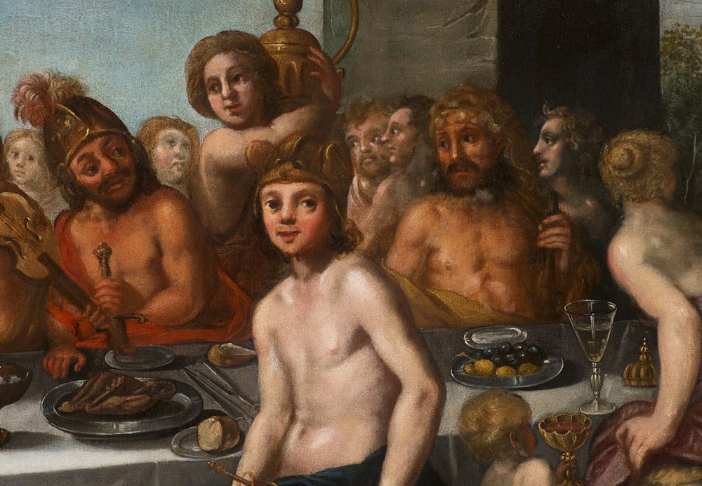 UNKNOWN CENTRAL EUROPEAN MASTER: THE FEAST OF THE GODS Before the mid-17th century 146,5x203,5 cm - Image 2 of 5
