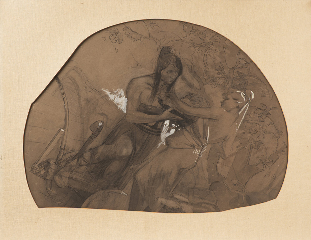 ALFONS MUCHA (1860-1939): FIGURATIVE SCENE Around 1900 50x60 cm Charcoal on cardboard. Irregular
