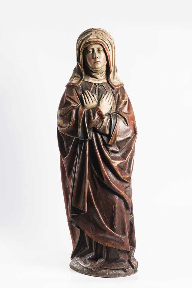 ANONYM: OUR LADY OF SORROWS Last quarter of 15th century 107 cm Exotic wood, chalk, polychrome. 1782