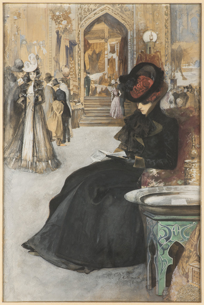 JAN DEDINA (1870-1955): AT A PARISIAN EXHIBITION 1900 39,5x26 cm Gouache on cardboard. Signed
