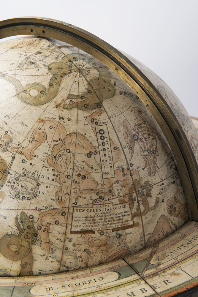 A TABLETOP CELESTIAL GLOBE 1800; England 46x43 cm, Diameter: 31 cm Lined paper glued to a plaster - Image 2 of 2