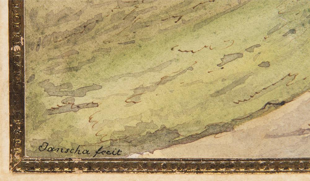 LAURENZ JANSCHA (1749-1812): CARLSBAD Around 1800 32x47 cm Watercolor, pen and ink, paper. Sign. - Image 2 of 2