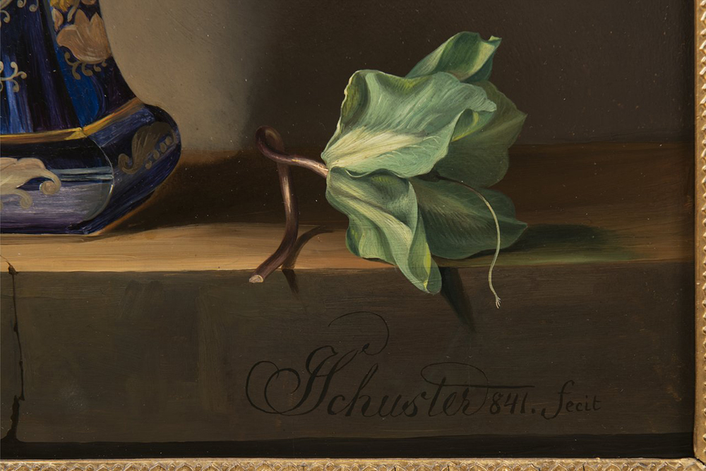 JOSEF SCHUSTER (1812-1890): FLORAL STILL-LIFE 1841 60x47 cm Oil on wood panel. Signed lower right: - Image 2 of 2