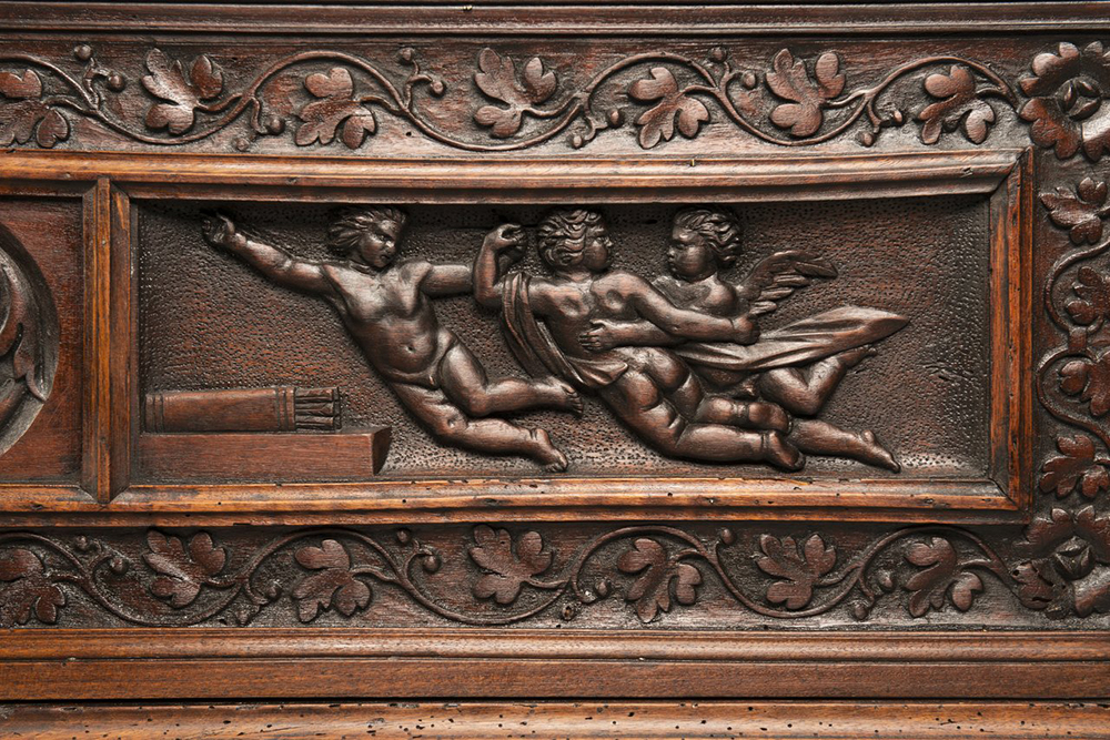 A MANNERIST CHEST Early 17th century; Northern Italy 57x168x52 cm Walnut. A richly carved - Image 3 of 4