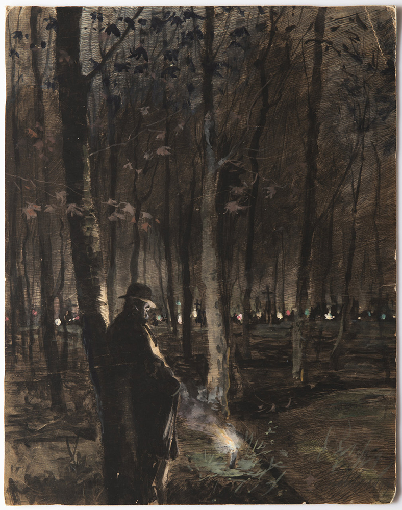 JOSEF LOUKOTA (1879-1967): ALL SOUL'S DAY 1899 39,5x31 cm Pen and ink, watercolor and gouache on