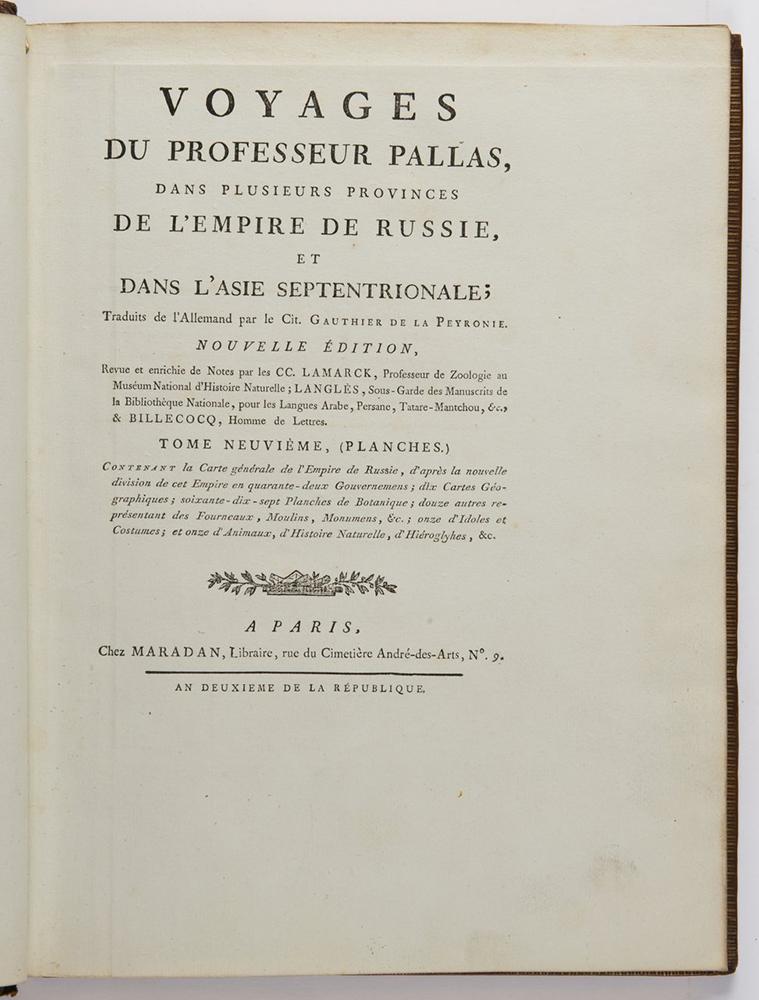 PETER SIMON PALLAS (1741-1811): VOYAGES DU PROFESSEUR PALLAS, DANS PLUSIEURS PROVINCES DE L'EMPIRE
