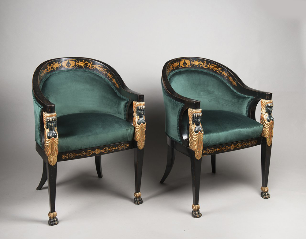 A SET OF EMPIRE FURNITURE 1815; Austria, Vienna Pear, blackened, polished, polychrome and gilded - Image 5 of 6
