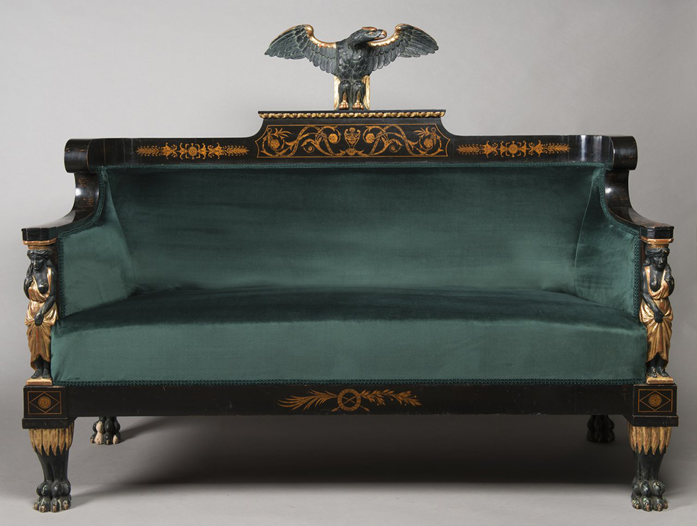 A SET OF EMPIRE FURNITURE 1815; Austria, Vienna Pear, blackened, polished, polychrome and gilded