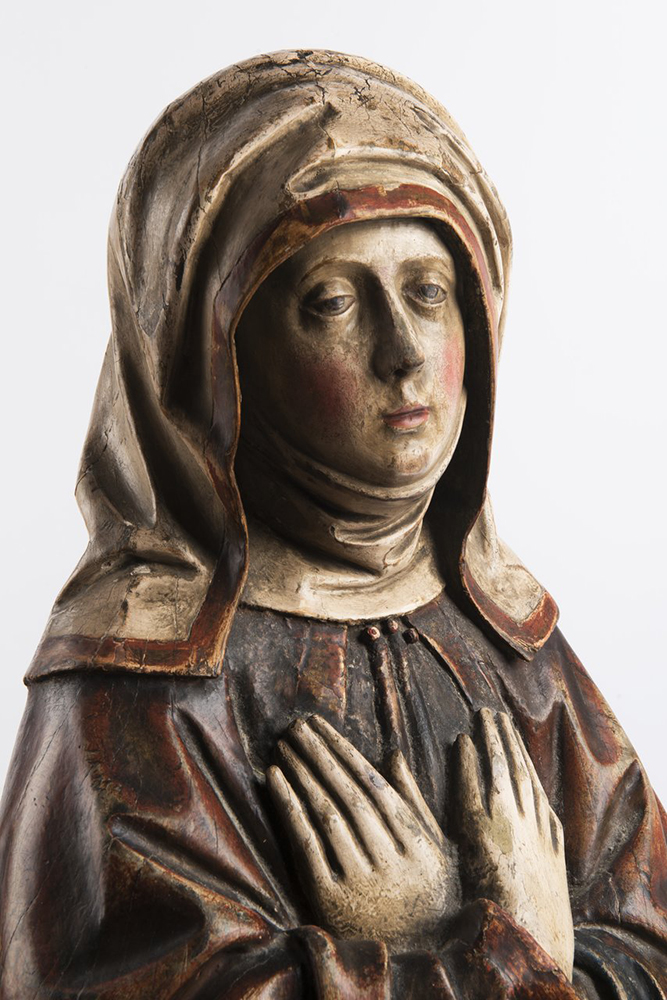 ANONYM: OUR LADY OF SORROWS Last quarter of 15th century 107 cm Exotic wood, chalk, polychrome. 1782 - Image 4 of 4