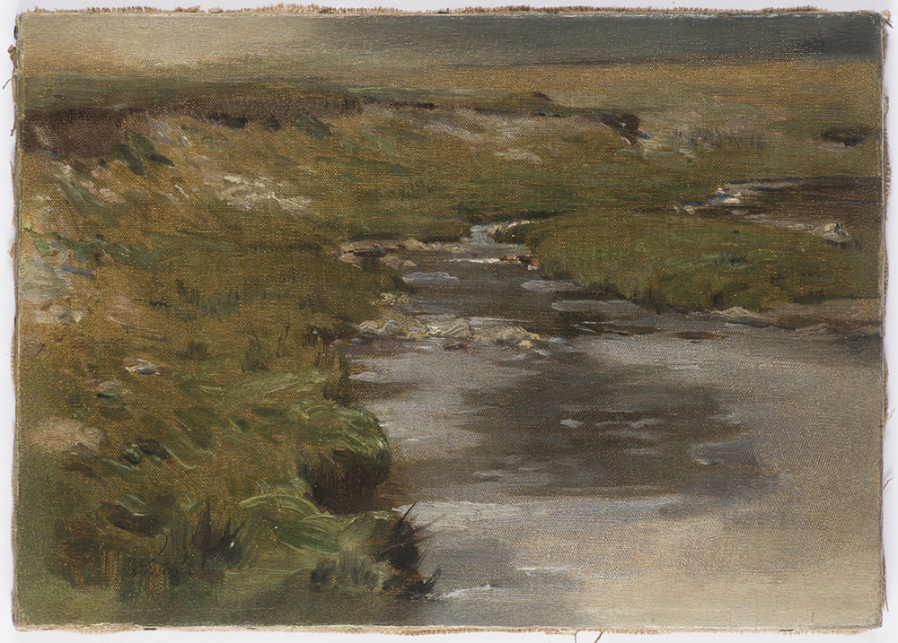 "JAN PREISLER (1872-1918): STREAM Before 1900 22x31 cm Oil on canvas. Signed lower left: ""Preisler""."