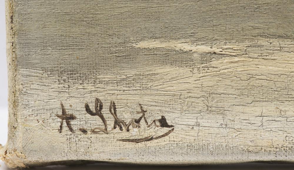 "ALBIN LHOTA (1847-1889): WINTER LANDSCAPE 1880s 26,5x40 cm Oil on canvas. Signed lower left: ""A. Lh - Image 2 of 2"