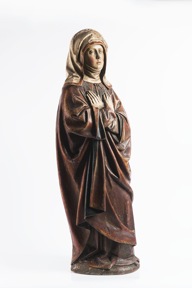 ANONYM: OUR LADY OF SORROWS Last quarter of 15th century 107 cm Exotic wood, chalk, polychrome. 1782 - Image 2 of 4