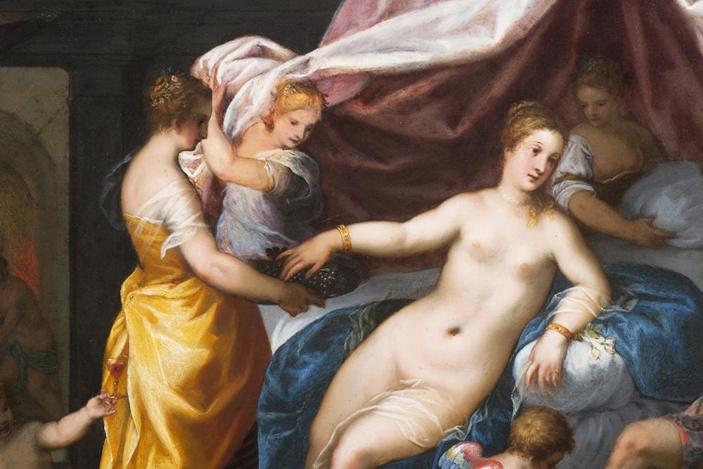 HANS ROTTENHAMMER (1564-1625): VENUS AND MARS Around 1600 28,5x36,5 cm Oil on copper plate. - Image 3 of 3