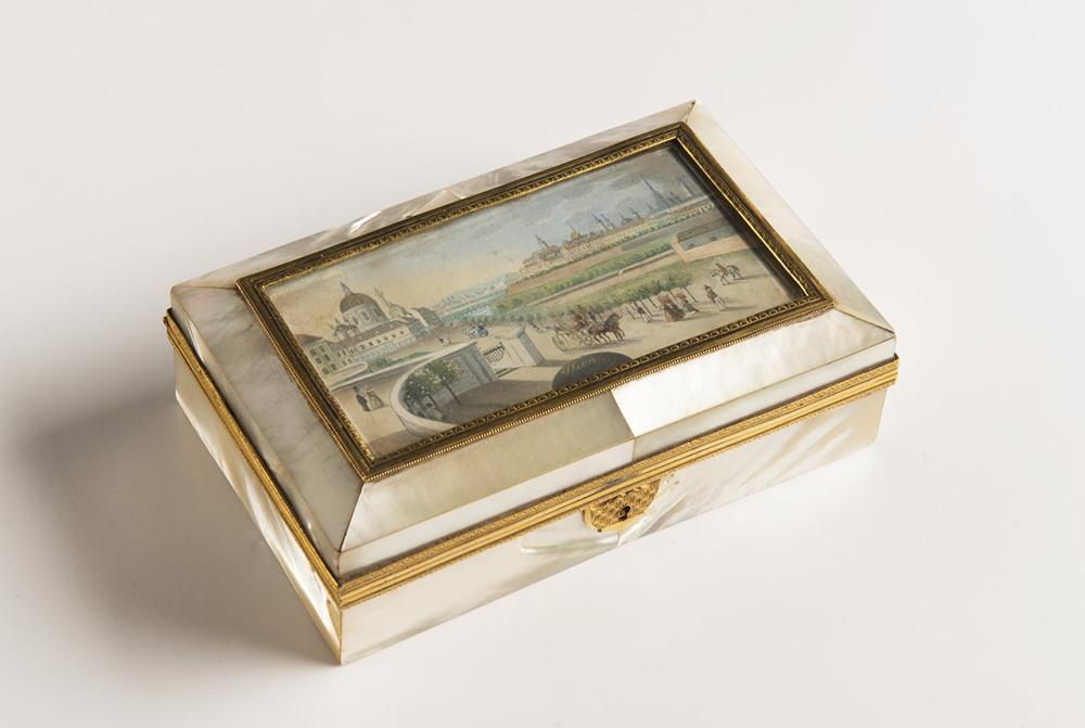 BALTHAZAR WIGAND (1771-1846): A BOX WITH A MINIATURE 1820-1830; Austria-Hungary, Vienna 4x14x9 cm