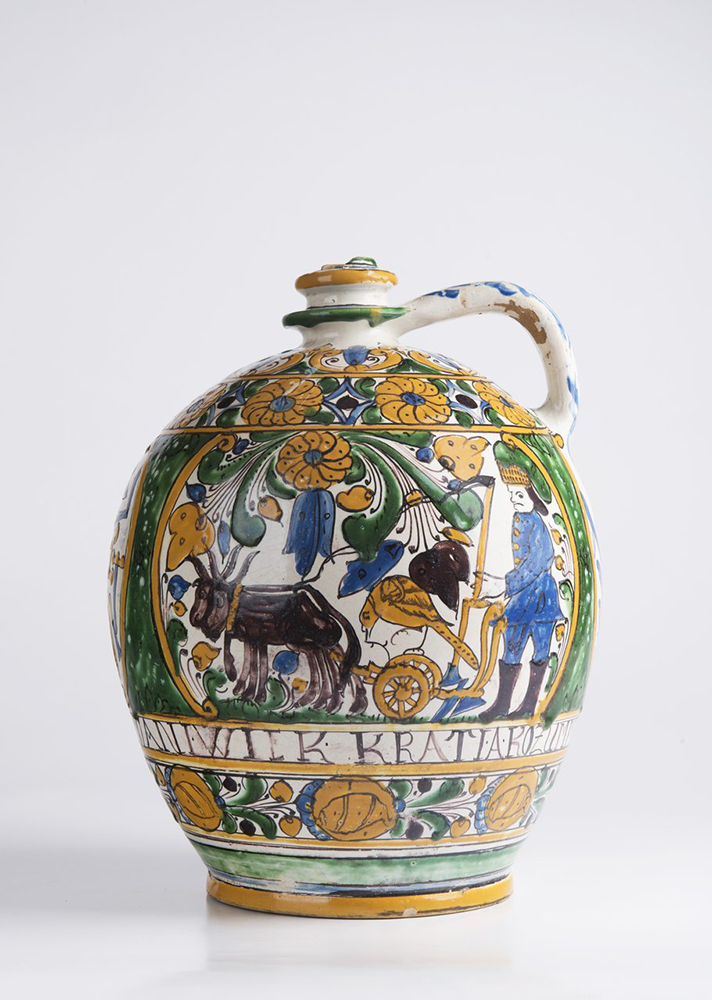 A POST-HABAN JUG OF THE GUILD OF WHEELWRIGHTS 32 cm A jug with a single handle at the top and narrow - Image 3 of 6