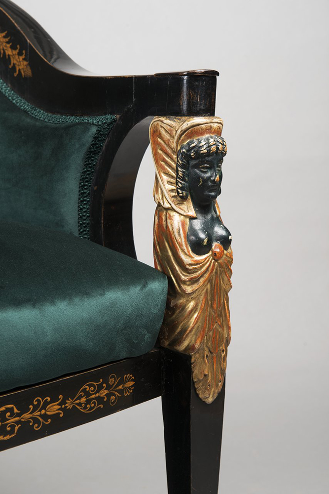 A SET OF EMPIRE FURNITURE 1815; Austria, Vienna Pear, blackened, polished, polychrome and gilded - Image 6 of 6