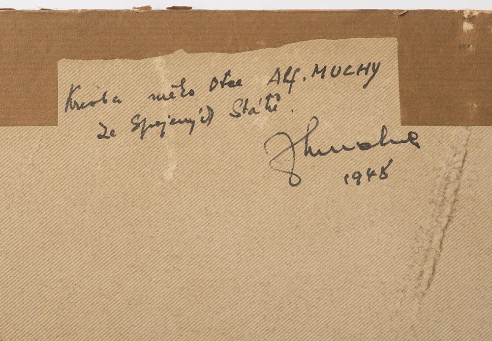 ALFONS MUCHA (1860-1939): FIGURATIVE SCENE Around 1900 50x60 cm Charcoal on cardboard. Irregular - Image 2 of 2