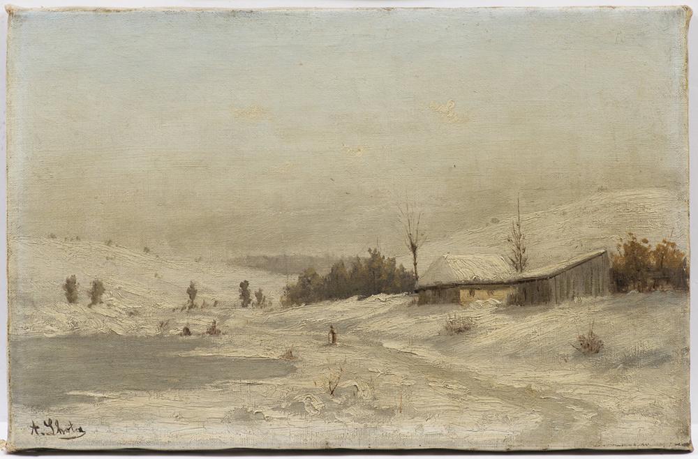 "ALBIN LHOTA (1847-1889): WINTER LANDSCAPE 1880s 26,5x40 cm Oil on canvas. Signed lower left: ""A. Lh"