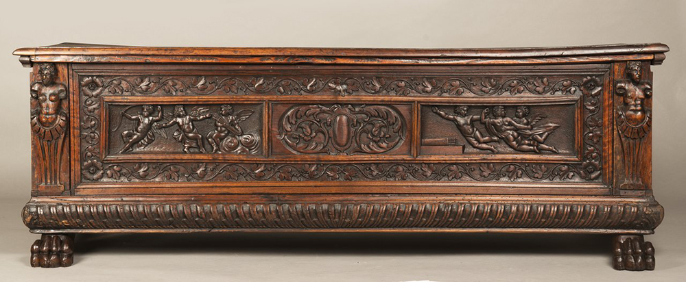 A MANNERIST CHEST Early 17th century; Northern Italy 57x168x52 cm Walnut. A richly carved - Image 2 of 4