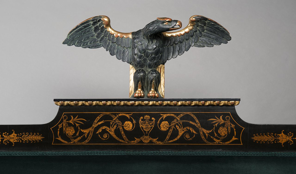 A SET OF EMPIRE FURNITURE 1815; Austria, Vienna Pear, blackened, polished, polychrome and gilded - Image 2 of 6
