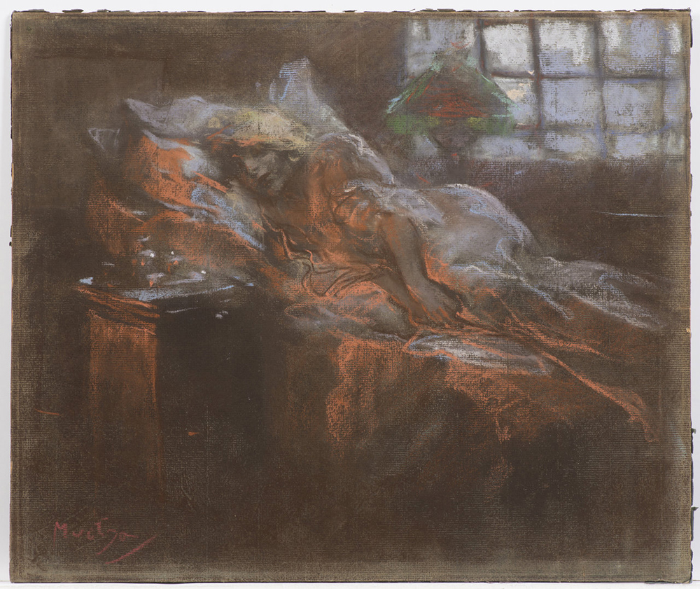ALFONS MUCHA (1860-1939): DREAMING Around 1900 32,2x38,3 cm Pastel on grey paper. Signed lower